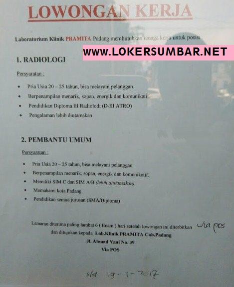 Lowongan Kerja di Padang – Klinik Pramita Padang – 2 Posisi (Penutupan 19 Jan.2017)
