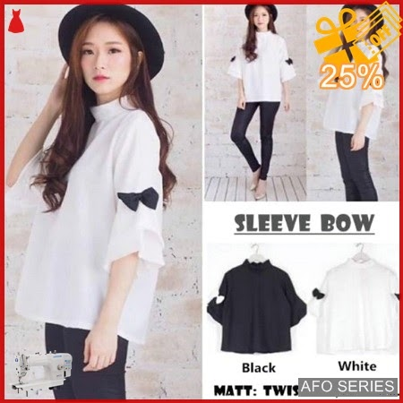 AFO353 Model Fashion Sleeve Bow Top blkg ad Murah BMGShop
