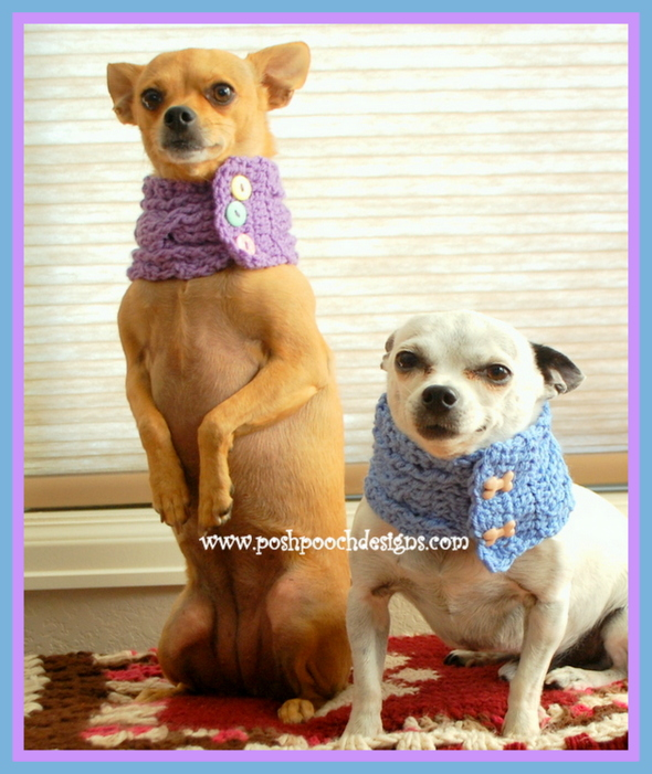 Posh Pooch Designs Dog Clothes Cable Stitch Dog Cowl With Buttons