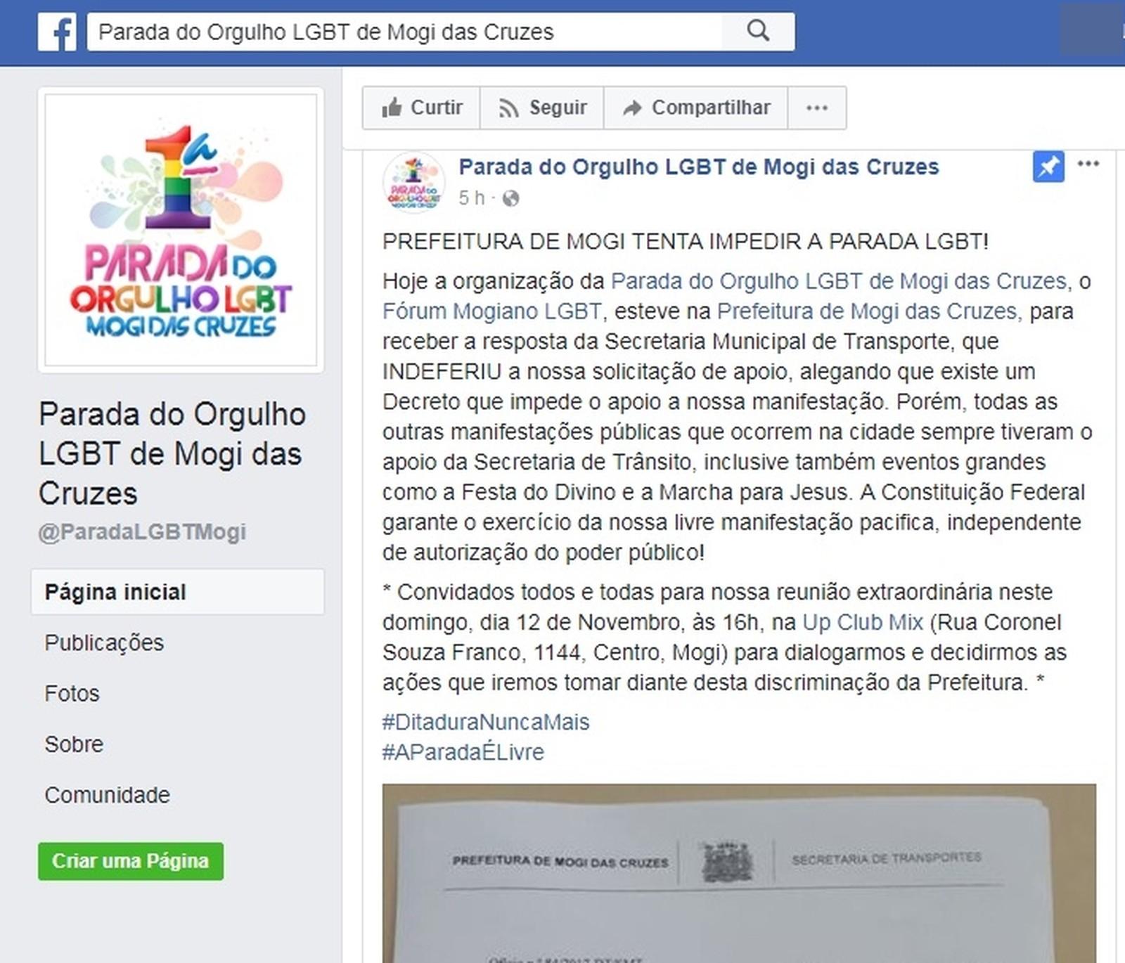 Autorização para Parada LGBT em Mogi é negada; Fórum acusa prefeitura de homofobia