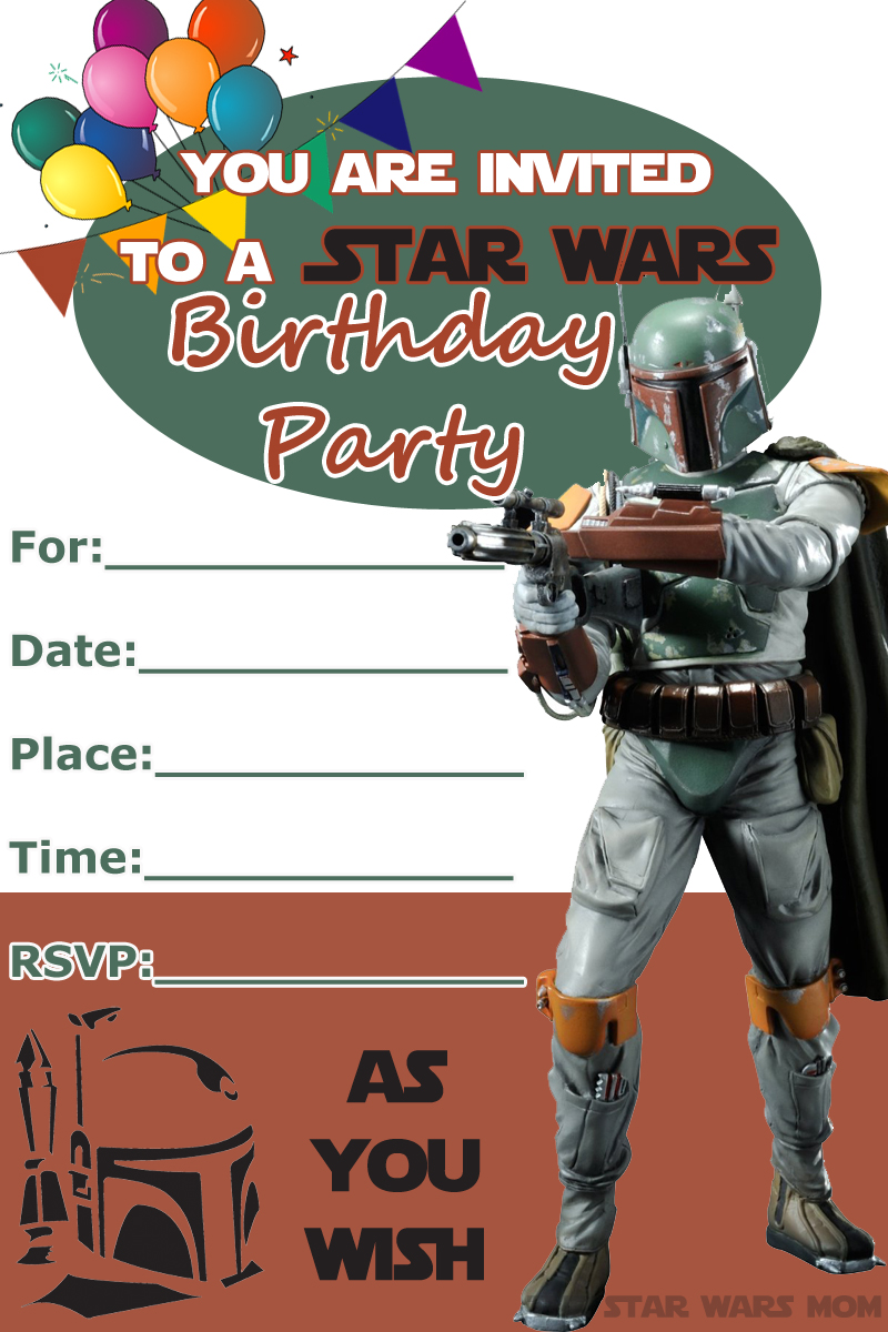 Boba Fett Free Birthday Party Invitation Star Wars Party The Star Wars Mom Parties Recipes Crafts And Printables