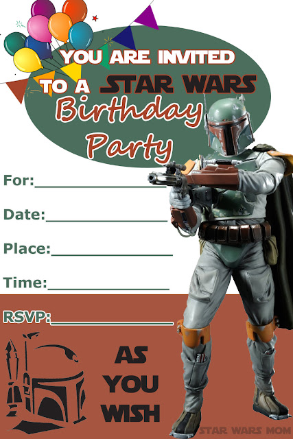 Free Printable Boba Fett Birthday Party Invitation - Star Wars