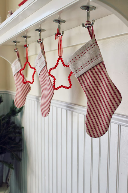 DIY Ticking Stripe Christmas Stockings Tutorial | Happy at Home