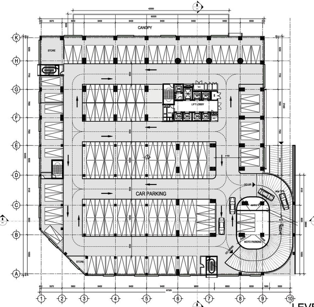 Mặt bằng tầng 2 đễn tầng 4 để xe tòa chung cư The Two.