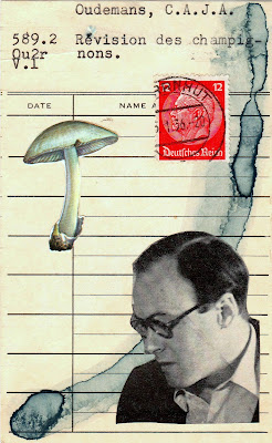 Old Testament Hebrew Bible portrait photo german postage stamp mushroom library card Dada Fluxus mail art collage