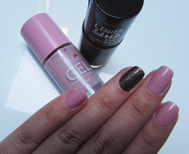 esmaltação, esmalte rosa e bronze com glitter
