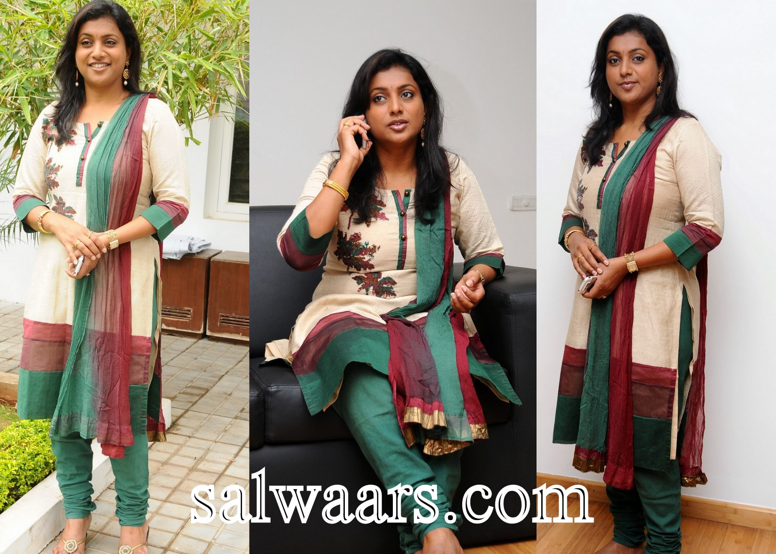 Neck Pattern Paired With Green Churidar Salwar And Dual Color