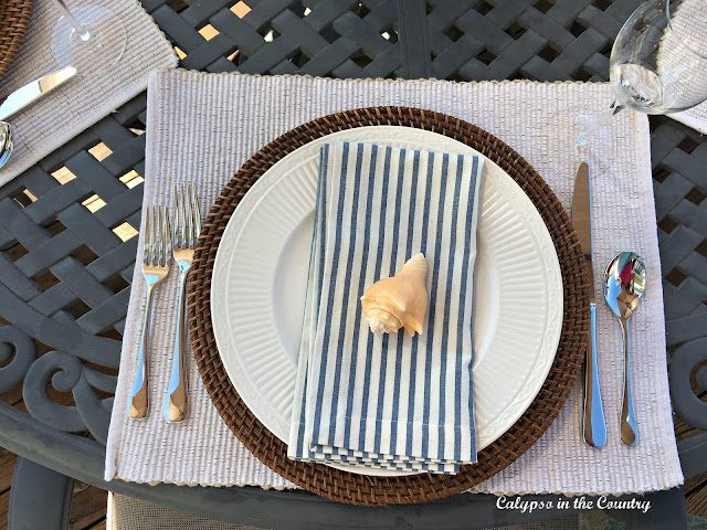 Coastal Place Setting with Striped Napkins