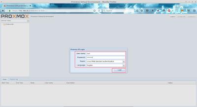 Setelah itu login dengan user root dan masukkan password tadi yang telah dibuat saat penginstallan proxmox
