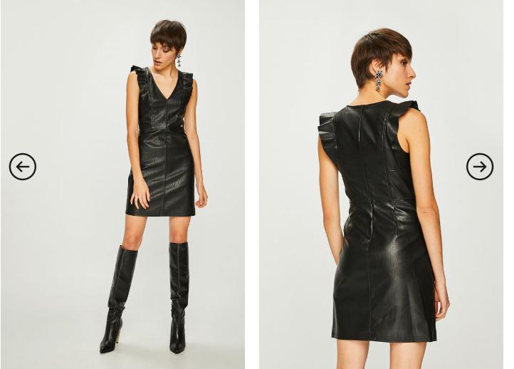 Armani Exchange - Rochie scurta neagra eleganta din imitatie de piele moderna