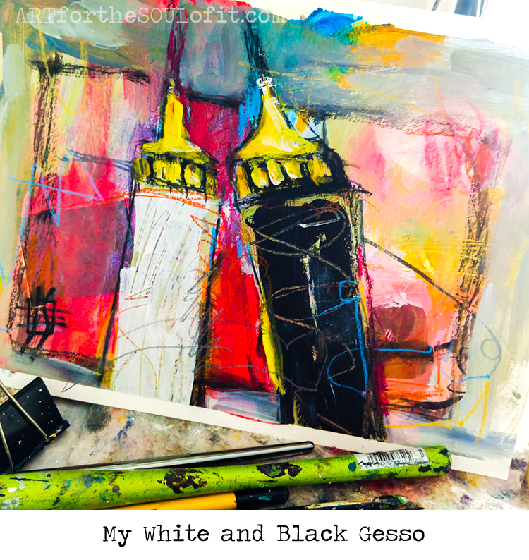 black and white gesso in squeeze bottles original painting by joanie springer