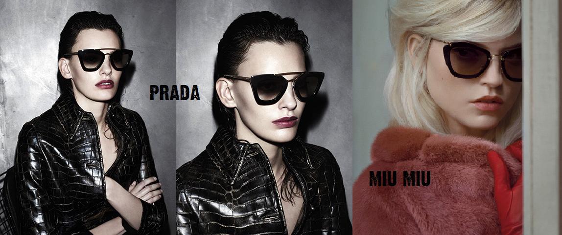 94b1e56f6e0e Prada Fall 2013 Eyewear Campaign vs Miu Miu Noir Sunglasses as seen on the  Spring 2013 campaign