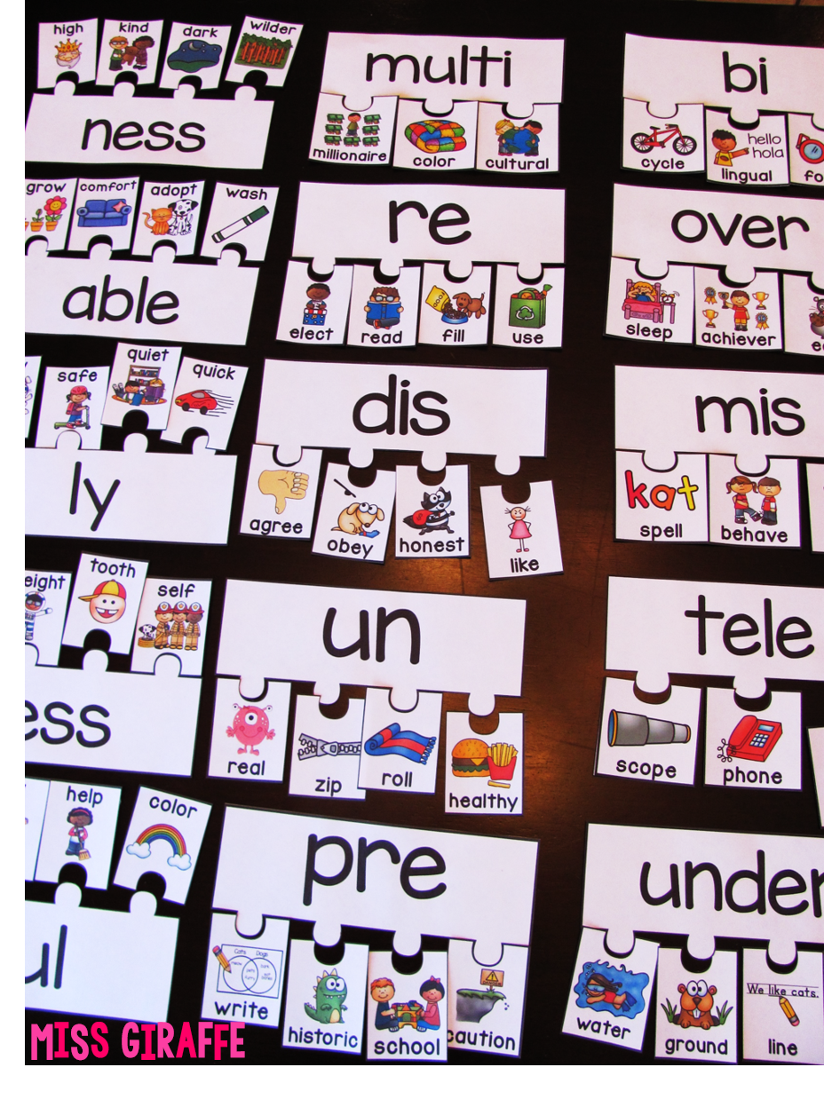 Miss Giraffe's Class: Prefixes and Suffixes Teaching Ideas for First Grade  and Kindergarten [ 1238 x 928 Pixel ]