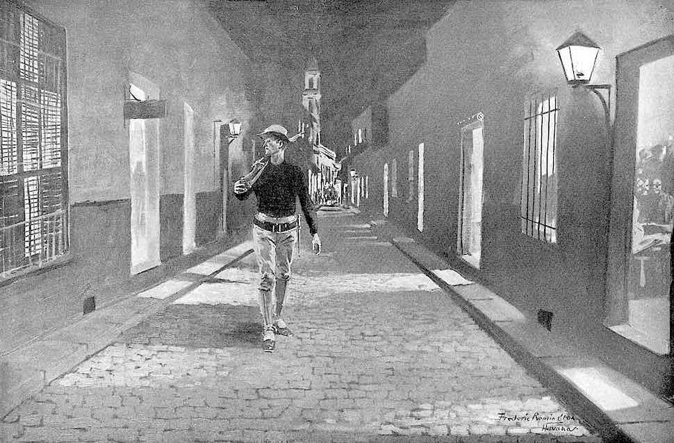 a Frederic Remington illustration, 1904 Havana Cuba, a law man patrolling the nightlife