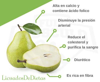 La pera una de las frutas que favorece el sistema inmunologico, también ayuda a calmar la diarrea.