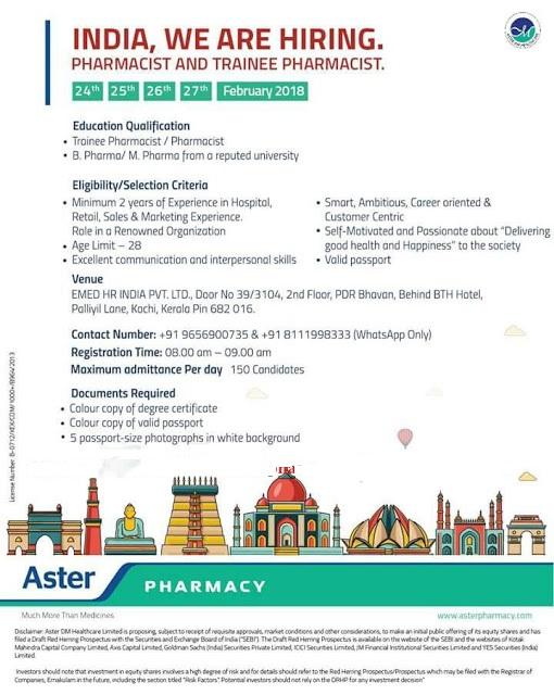ASTER PHARMACY Walk In Interview's for B.Pharm, M.Pharm, Pharmacist ...