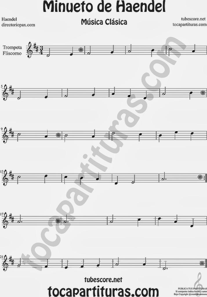 Minueto de Händel Partitura de Trompeta y Fliscorno by Handel Easy Minuet Sheet Music for Trumpet and Flugelhorn Music Score
