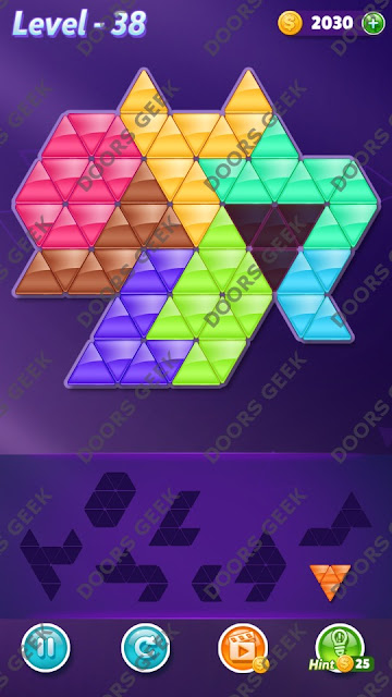 Block! Triangle Puzzle 8 Mania Level 38 Solution, Cheats, Walkthrough for Android, iPhone, iPad and iPod