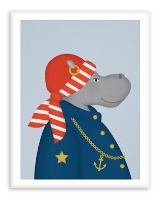 Nautical Nursery Poster - Sailor Hippo