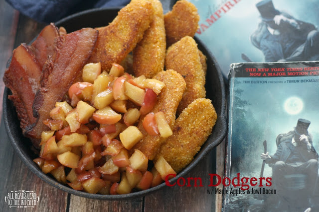 Corn Dodgers with Maple Apples and Jowl Bacon inspired by Abraham Lincoln: Vampire Hunter