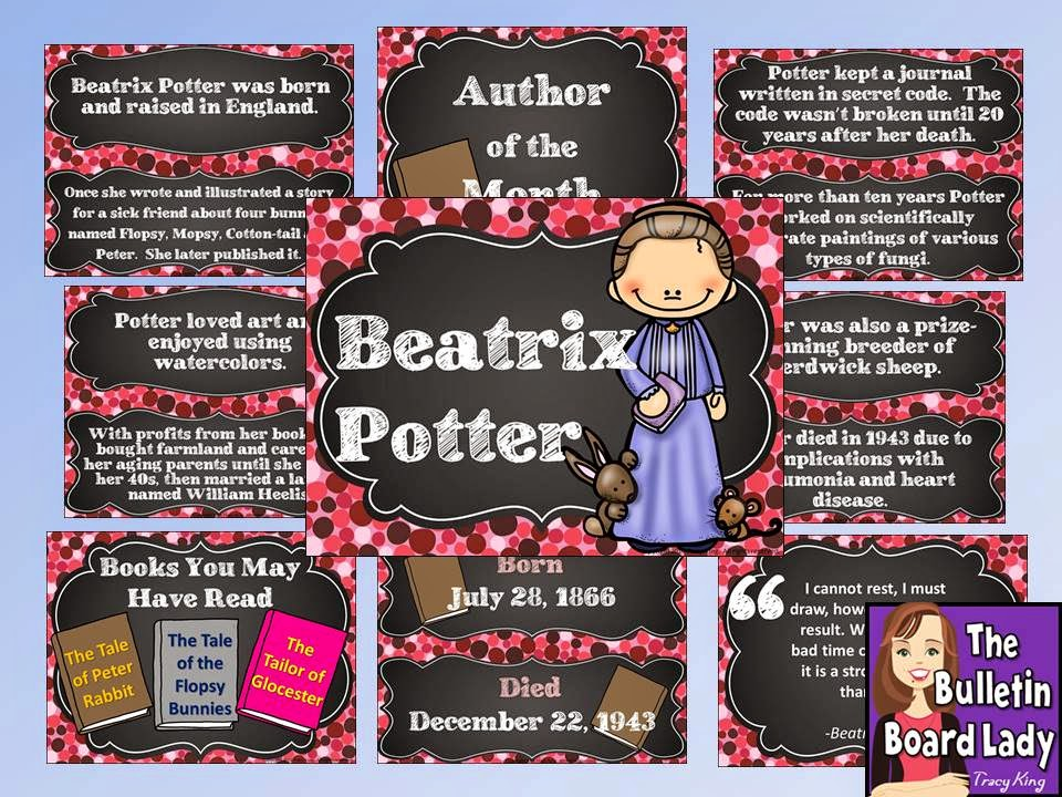 http://www.teacherspayteachers.com/Product/Author-of-the-Month-Beatrix-Potter-Bulletin-Board-and-More-1305951