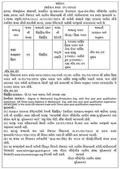 Nodal Industrial Training Institute (ITI), Surendranagar Recruitment 2017 for Craft Instructor Fitter
