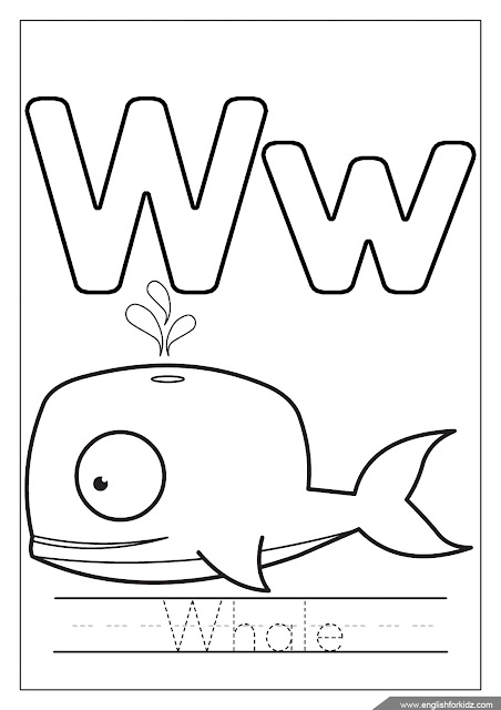 Alphabet coloring page, letter w coloring, w is for whale