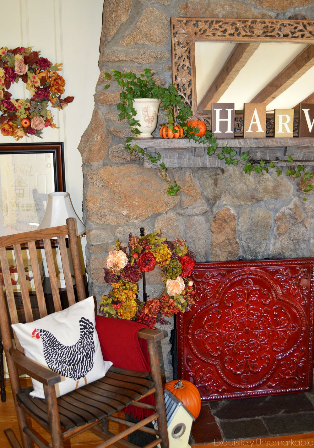 Fall Fireplace with red tin screen over the opening
