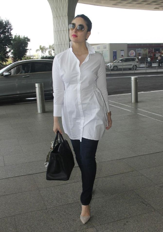 Bollywood Hot Actress Kareena Kapoor Photos In White Shirt - Tollywood Boost