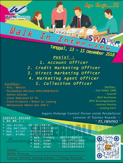 Walk In Interview di PT. Swapro International Denpasar 2018