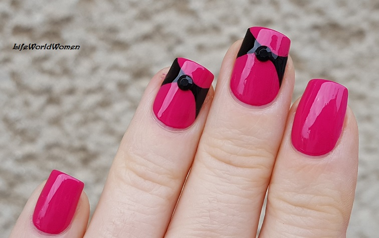 Life World Women Pink Nails With Black Bow Nail Design