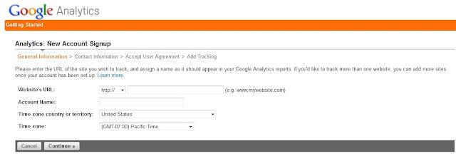 Google Analytics new account setup