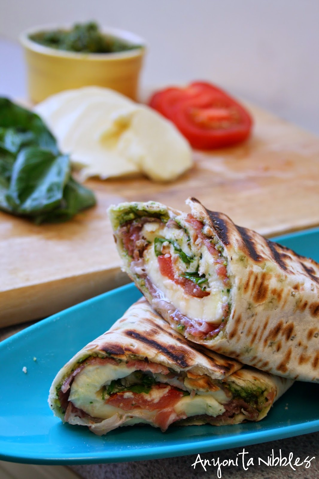 An Italian Griddled Caprese Antipasti Wrap with fresh ingredients from Anyonita  Nibbles