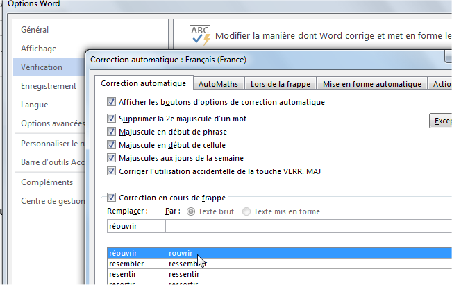 capture d'écran Word 2013 - options de correction automatique