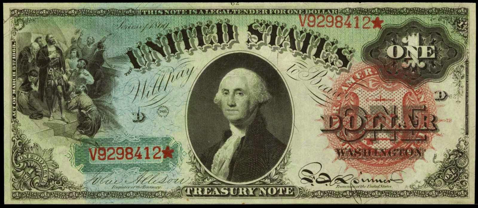 1869 One Dollar Bill Legal Tender Rainbow Notes