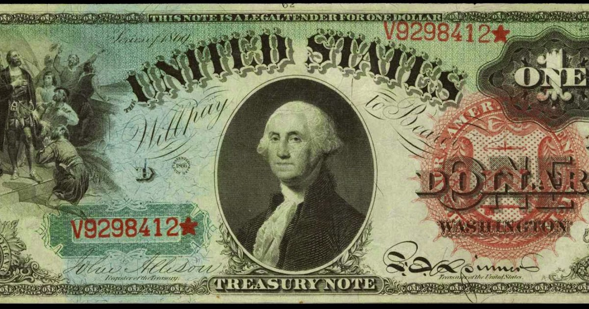 1869 One Dollar Legal Tender Rainbow Notes World