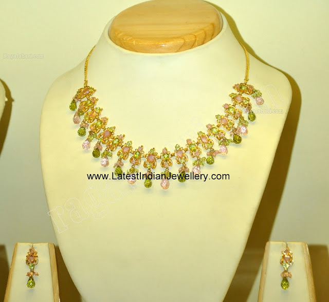 Fancy Colored Stones Gold Necklace