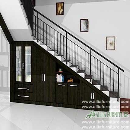 Lemari bawah tangga minimalis model oak