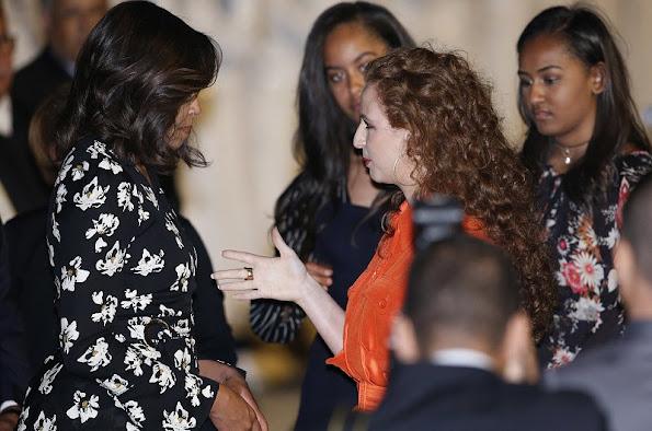 Princess Lalla Selma of Morocco welcomes U.S. first lady Michelle Obama and daughters Malia and Sasha