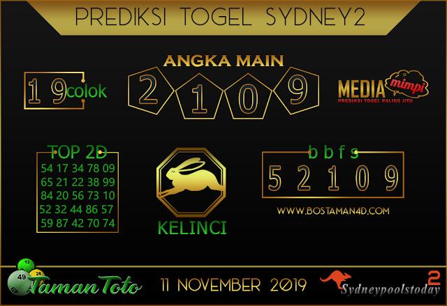 Prediksi Togel SYDNEY 2 TAMAN TOTO 11 NOVEMBER 2019