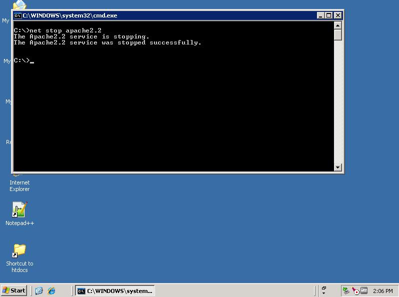 Start/stop Apache service in Windows's command line