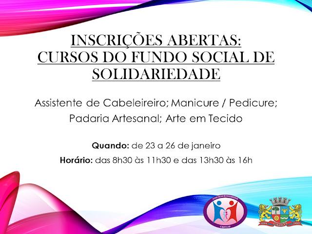 FUNDO SOCIAL DE CAJATI ABRE INSCRIÇÕES PARA CURSOS