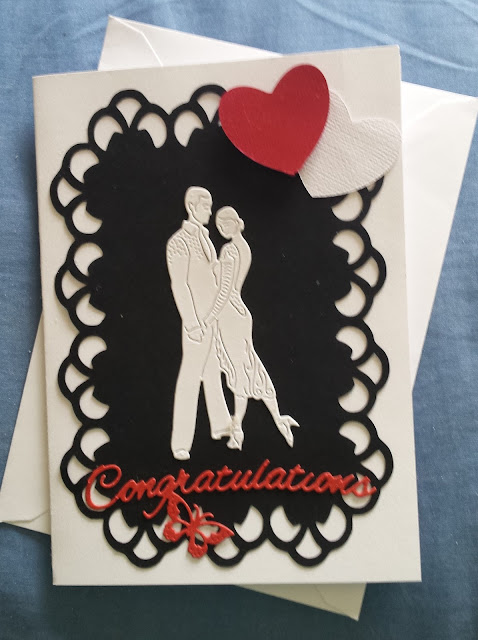 Congratulations - dancing couple and hearts