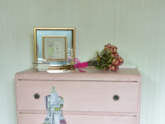 Decoupaged Pink Vintage Waterfall Dresser Makeover