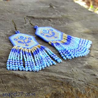 Купить бисерные сережки с бахромой. Нежное украшение из бисера ручной работы. Бохо.