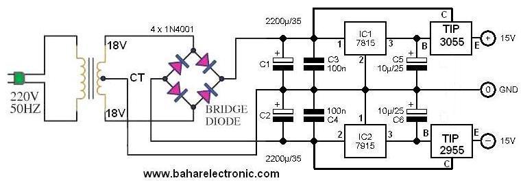cara menambah amper ic regulator 7815 dan 7915