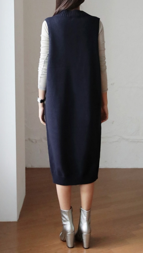 Uneven Hem Knit Vest Dress