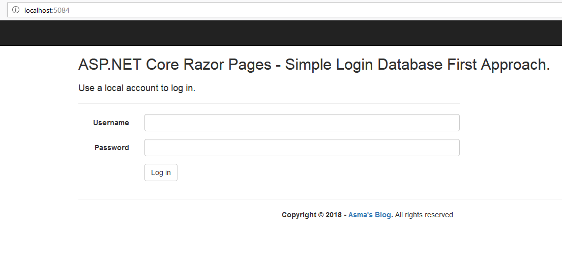 ASP NET Core Razor Pages: Simple Login using Entity Framework