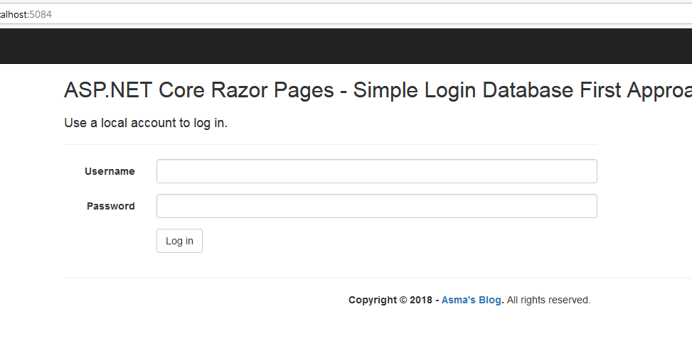 ASP.NET Core Razor Pages: Simple Login using Entity