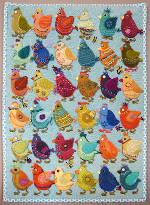 Chicks, a wall quilt by Sue Spargo, embroidery on wool applique